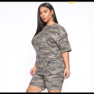 FASHION NOVA Tamia II Camo Biker Short Set